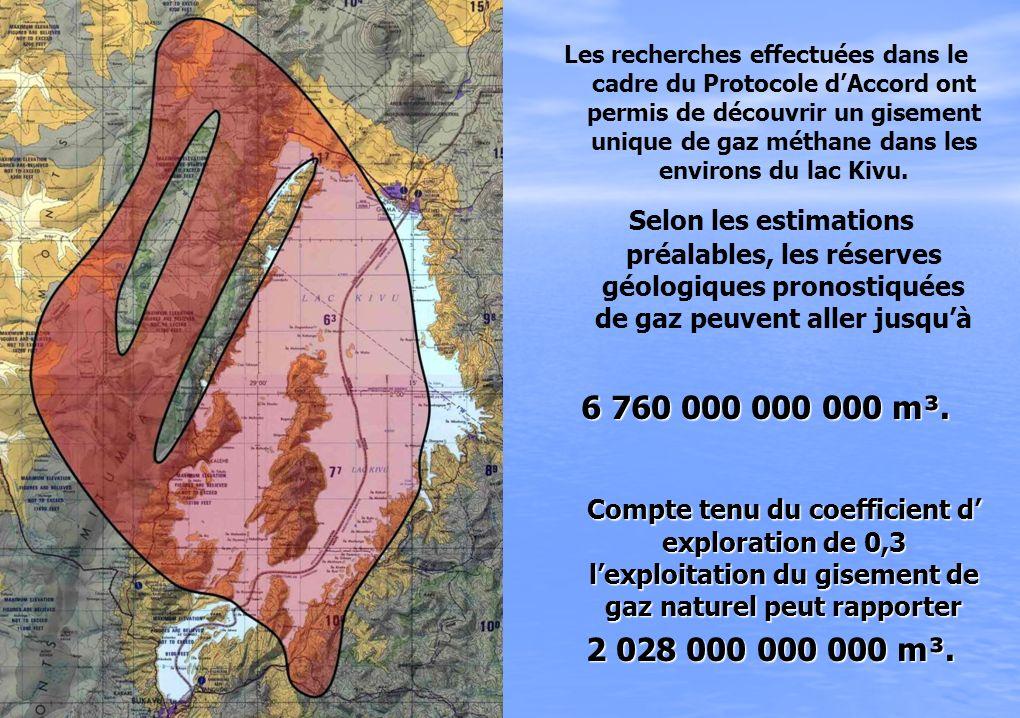 Les recherches effectuées dans le cadre du Protocole dAccord ont permis de découvrir un gisement unique de gaz méthane dans les environs du lac Kivu.