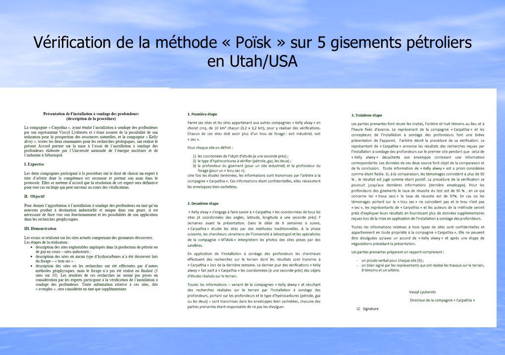 Vérification de la méthode « Poïsk » sur 5 gisements pétroliers en Utah/USA