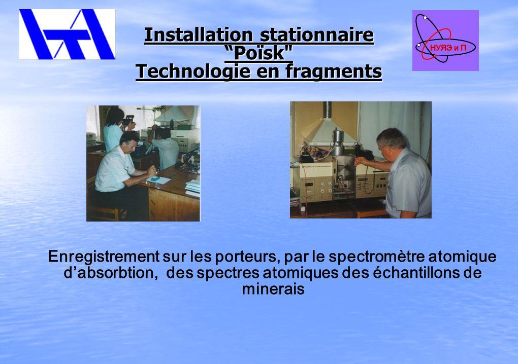 Installation stationnaire Poïsk Technologie en fragments Enregistrement sur les porteurs, par le spectromètre atomique dabsorbtion, des spectres atomiques des échantillons de minerais