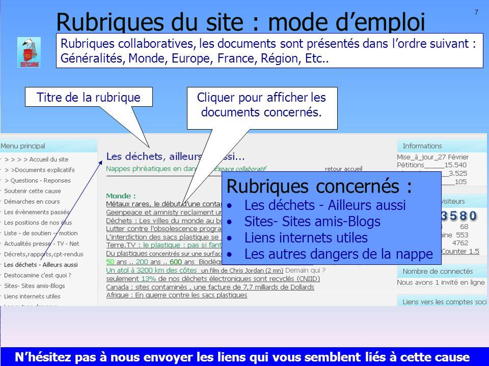 Rubriques du site : mode demploi Titre de la rubrique Rubriques concernés : Les déchets - Ailleurs aussi Sites- Sites amis-Blogs Liens internets utile