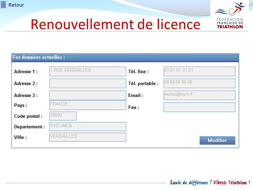 Retour Renouvellement de licence