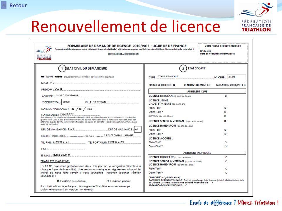 Renouvellement de licence Retour