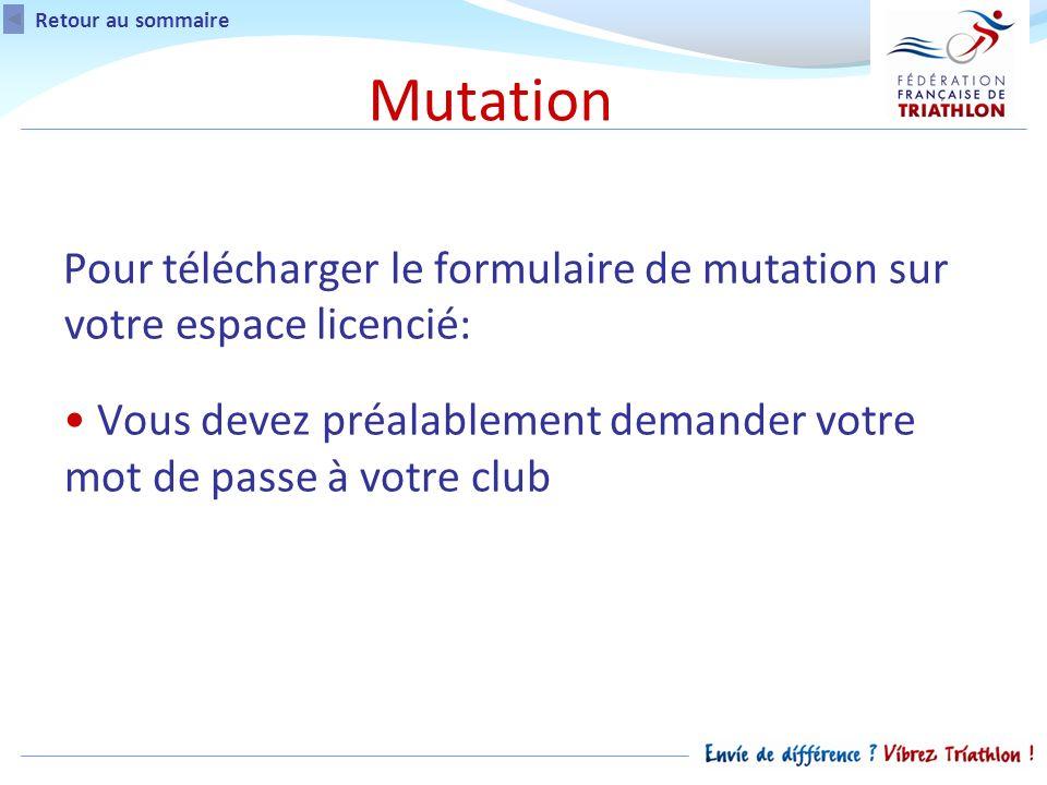 Retour au sommaire Mutation Pour télécharger le formulaire de mutation sur votre espace licencié: Vous devez préalablement demander votre mot de passe à votre club