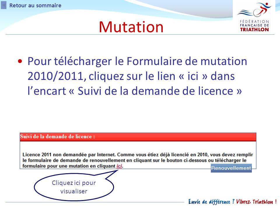 Pour télécharger le Formulaire de mutation 2010/2011, cliquez sur le lien « ici » dans lencart « Suivi de la demande de licence » Retour au sommaire Cliquez ici pour visualiser Mutation