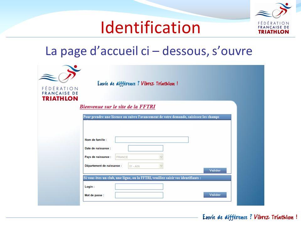 Identification La page daccueil ci – dessous, souvre