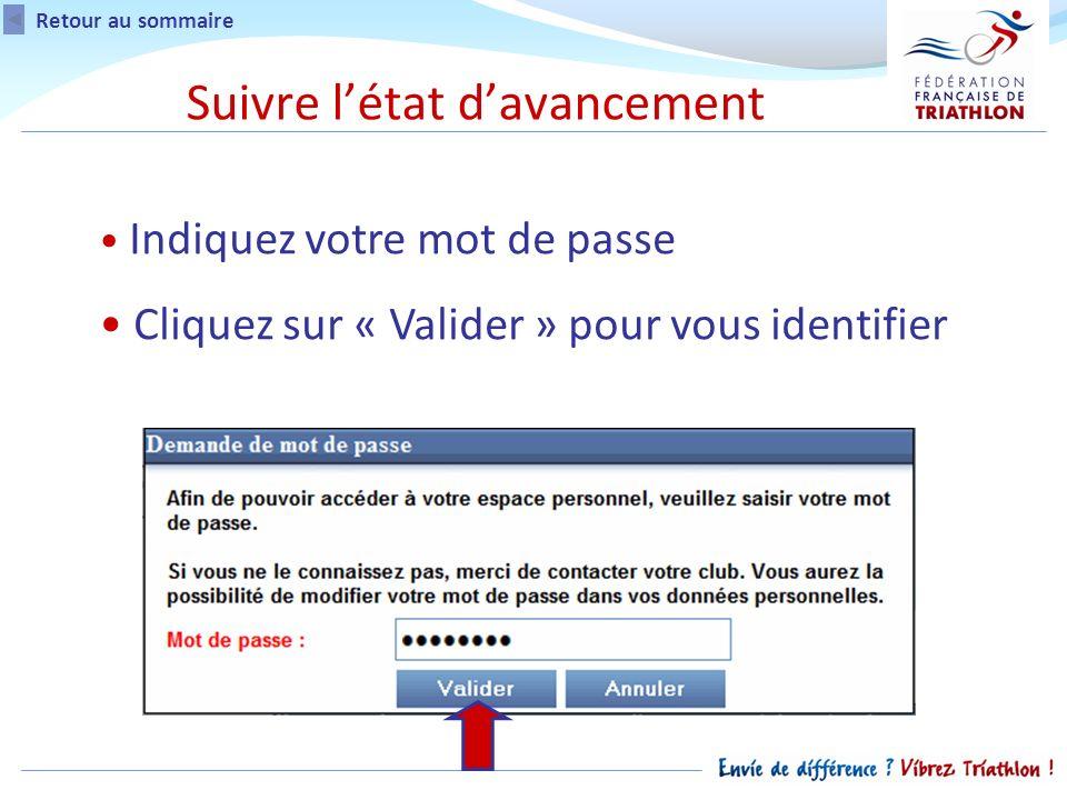 Retour au sommaire Indiquez votre mot de passe Cliquez sur « Valider » pour vous identifier Suivre létat davancement