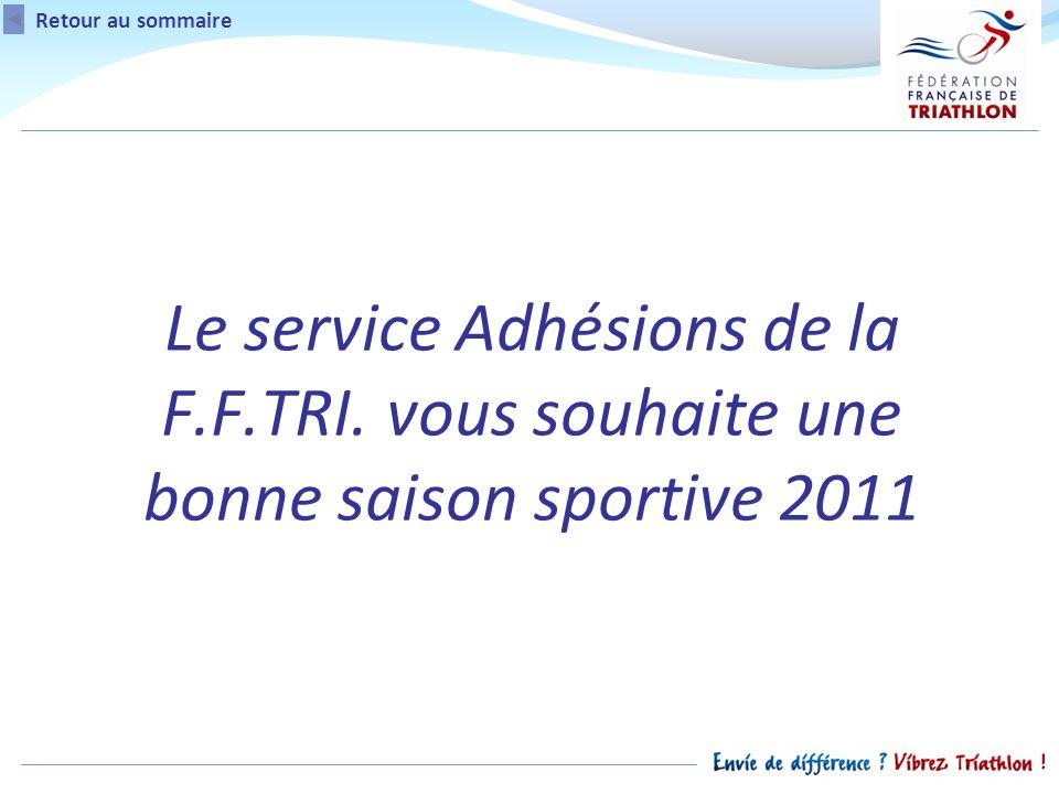 Le service Adhésions de la F.F.TRI. vous souhaite une bonne saison sportive 2011 Retour au sommaire