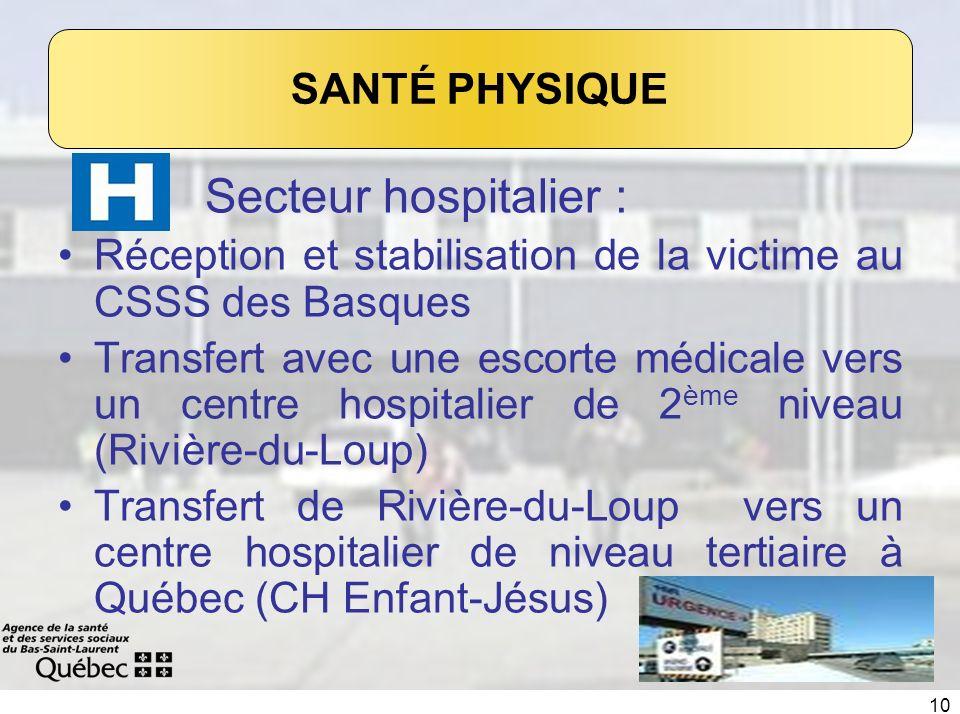 10 Secteur hospitalier : Réception et stabilisation de la victime au CSSS des Basques Transfert avec une escorte médicale vers un centre hospitalier d