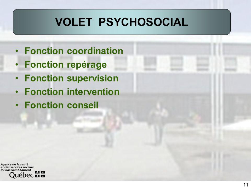 11 Fonction coordination Fonction repérage Fonction supervision Fonction intervention Fonction conseil VOLET PSYCHOSOCIAL