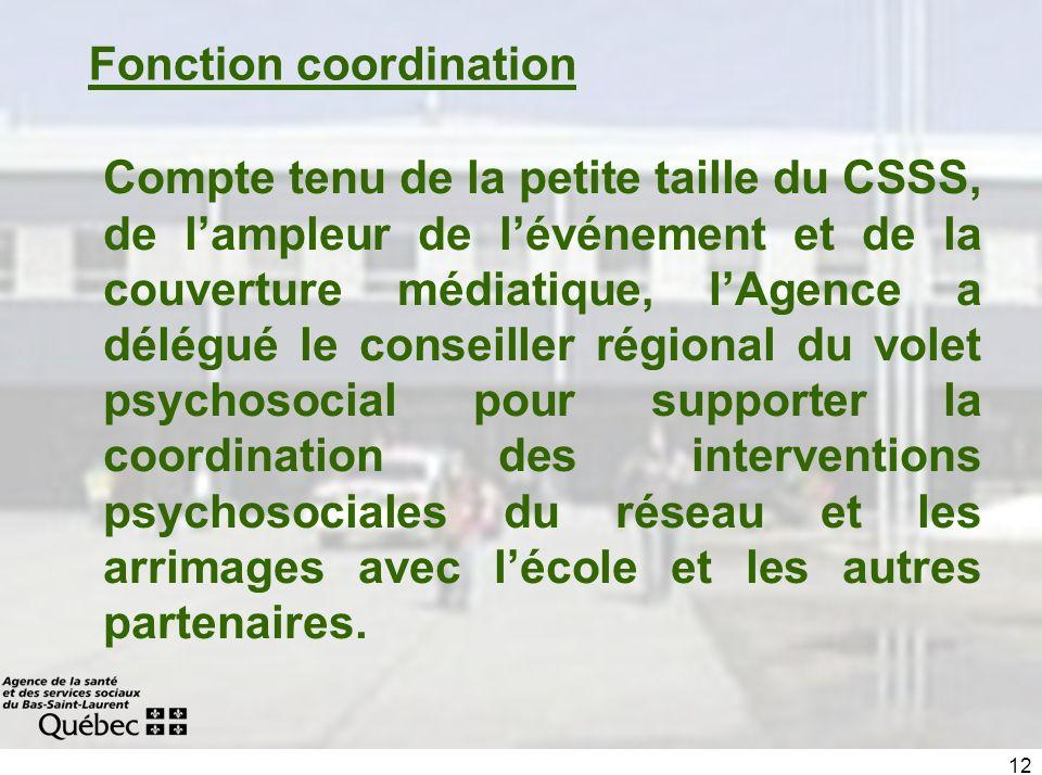 12 Fonction coordination Compte tenu de la petite taille du CSSS, de lampleur de lévénement et de la couverture médiatique, lAgence a délégué le conse