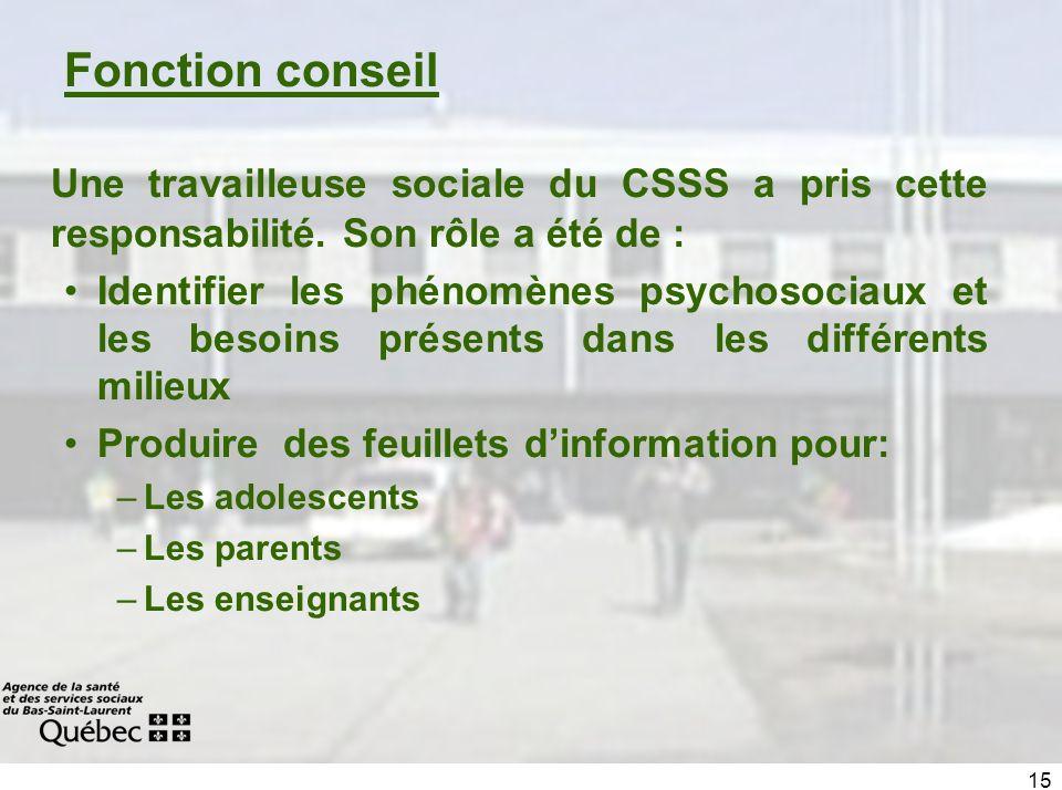 15 Fonction conseil Une travailleuse sociale du CSSS a pris cette responsabilité. Son rôle a été de : Identifier les phénomènes psychosociaux et les b