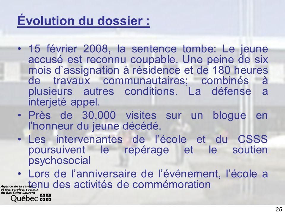25 Évolution du dossier : 15 février 2008, la sentence tombe: Le jeune accusé est reconnu coupable.