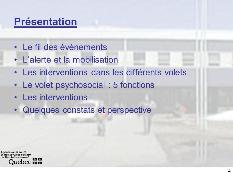 4 Présentation Le fil des événements Lalerte et la mobilisation Les interventions dans les différents volets Le volet psychosocial : 5 fonctions Les i