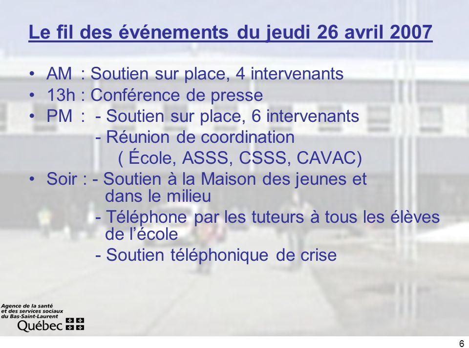 6 Le fil des événements du jeudi 26 avril 2007 AM : Soutien sur place, 4 intervenants 13h : Conférence de presse PM : - Soutien sur place, 6 intervena