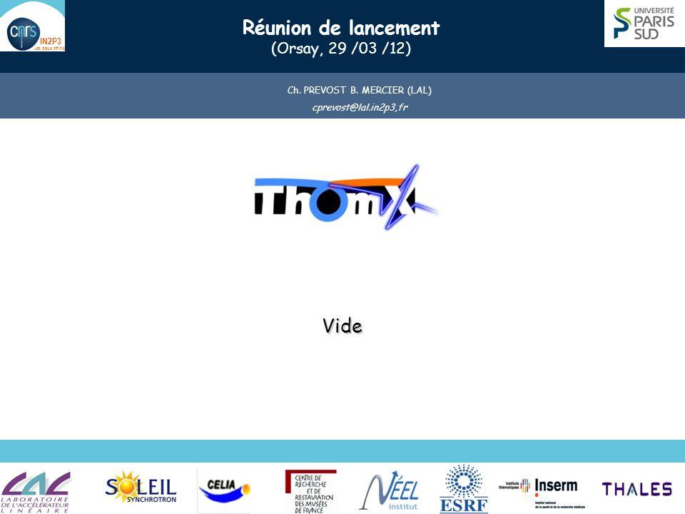 Name (Lab) Presentation title (Place, date) 12 Vide Thom X ¼ Anneau avec cavité optique Réunion de lancement 0rsay, 29 /03 /12 Ch.