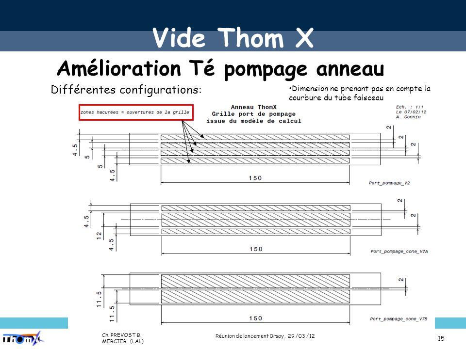 Name (Lab) Presentation title (Place, date) 15 Différentes configurations: Dimension ne prenant pas en compte la courbure du tube faisceau Vide Thom X Amélioration Té pompage anneau Réunion de lancement 0rsay, 29 /03 /12 Ch.