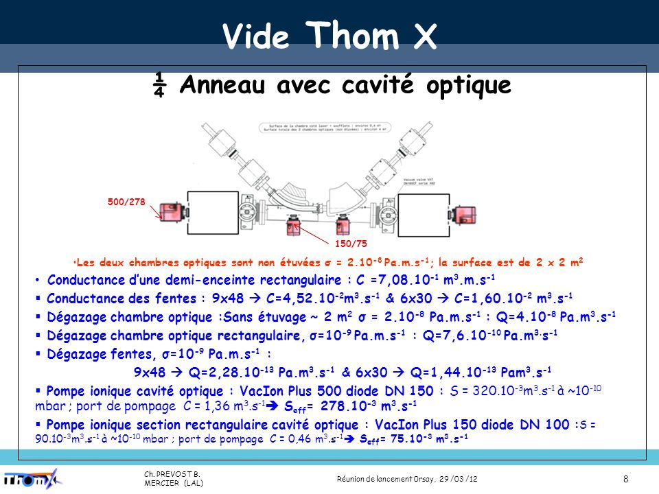 Name (Lab) Presentation title (Place, date) 8 Vide Thom X ¼ Anneau avec cavité optique Les deux chambres optiques sont non étuvées σ = 2.10 -8 Pa.m.s -1 ; la surface est de 2 x 2 m 2 Conductance dune demi-enceinte rectangulaire : C =7,08.10 -1 m 3.m.s -1 Conductance des fentes : 9x48 C=4,52.10 -2 m 3.s -1 & 6x30 C=1,60.10 -2 m 3.s -1 Dégazage chambre optique :Sans étuvage ~ 2 m 2 σ = 2.10 -8 Pa.m.s -1 : Q=4.10 -8 Pa.m 3.s -1 Dégazage chambre optique rectangulaire, σ=10 -9 Pa.m.s -1 : Q=7,6.10 -10 Pa.m 3.
