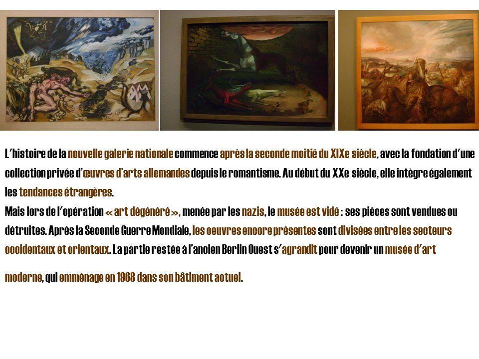 L'histoire de la nouvelle galerie nationale commence après la seconde moitié du XIXe siècle, avec la fondation d'une collection privée dœuvres darts a