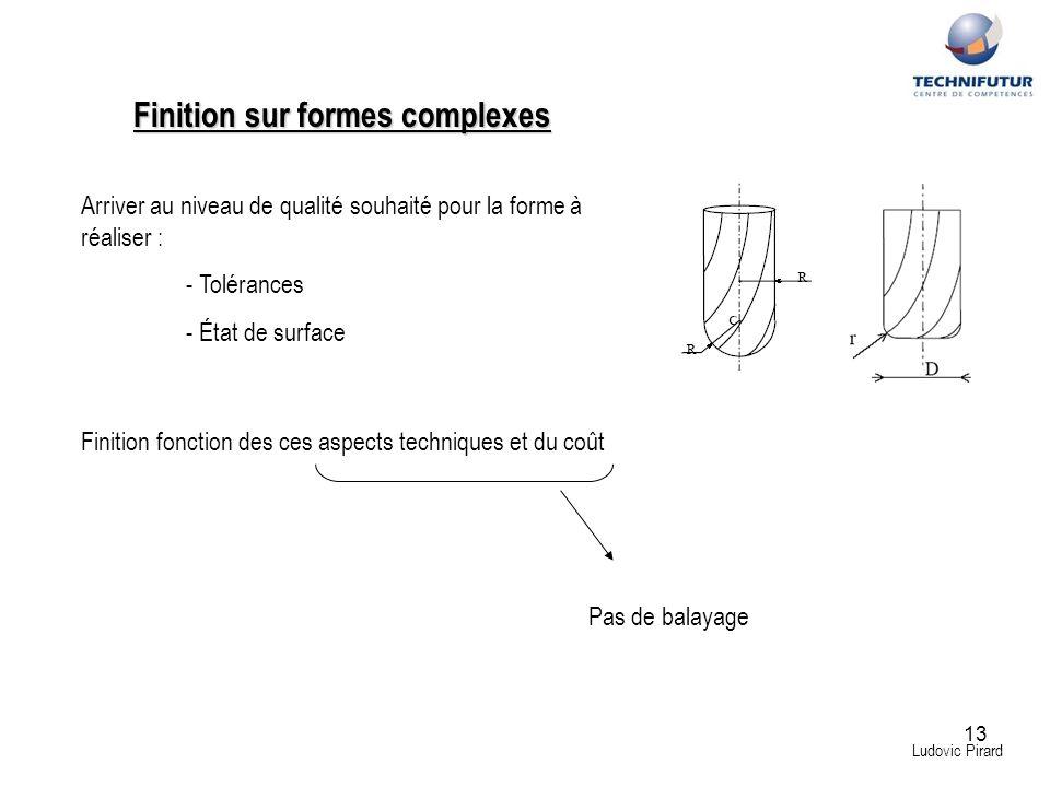 13 Finition sur formes complexes Ludovic Pirard Arriver au niveau de qualité souhaité pour la forme à réaliser : - Tolérances - État de surface Finiti