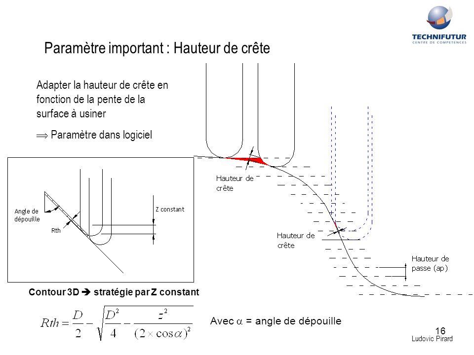 16 Ludovic Pirard Paramètre important : Hauteur de crête Adapter la hauteur de crête en fonction de la pente de la surface à usiner Paramètre dans log