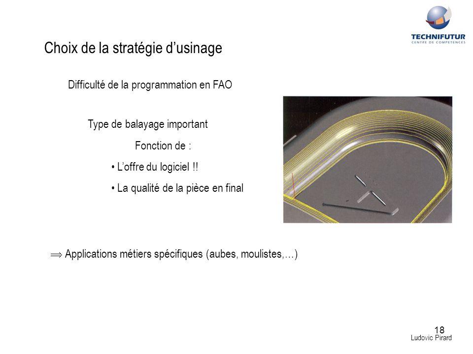 18 Ludovic Pirard Choix de la stratégie dusinage Type de balayage important Fonction de : Loffre du logiciel !! La qualité de la pièce en final Diffic