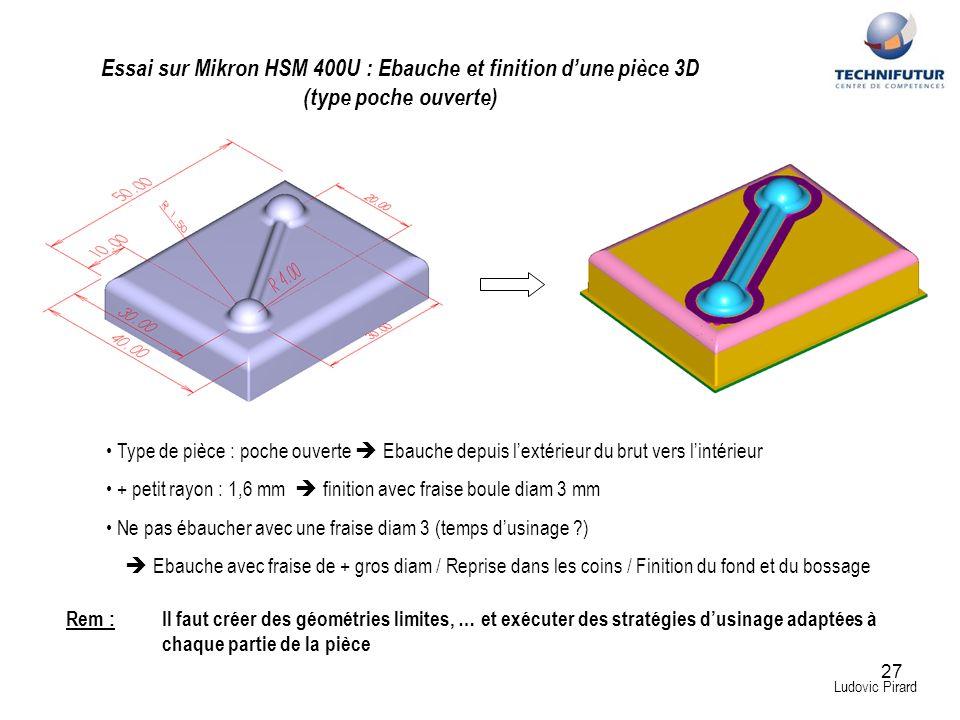 27 Ludovic Pirard Essai sur Mikron HSM 400U : Ebauche et finition dune pièce 3D (type poche ouverte) Type de pièce : poche ouverte Ebauche depuis lext