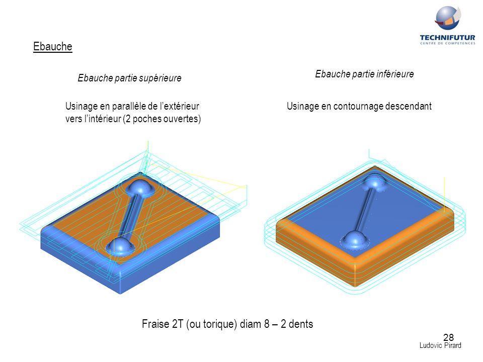 28 Ludovic Pirard Ebauche Fraise 2T (ou torique) diam 8 – 2 dents Ebauche partie supérieure Ebauche partie inférieure Usinage en parallèle de lextérie