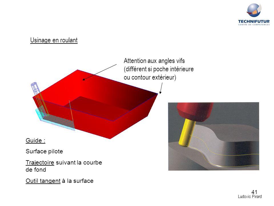41 Ludovic Pirard Usinage en roulant Attention aux angles vifs (différent si poche intérieure ou contour extérieur) Guide : Surface pilote Trajectoire
