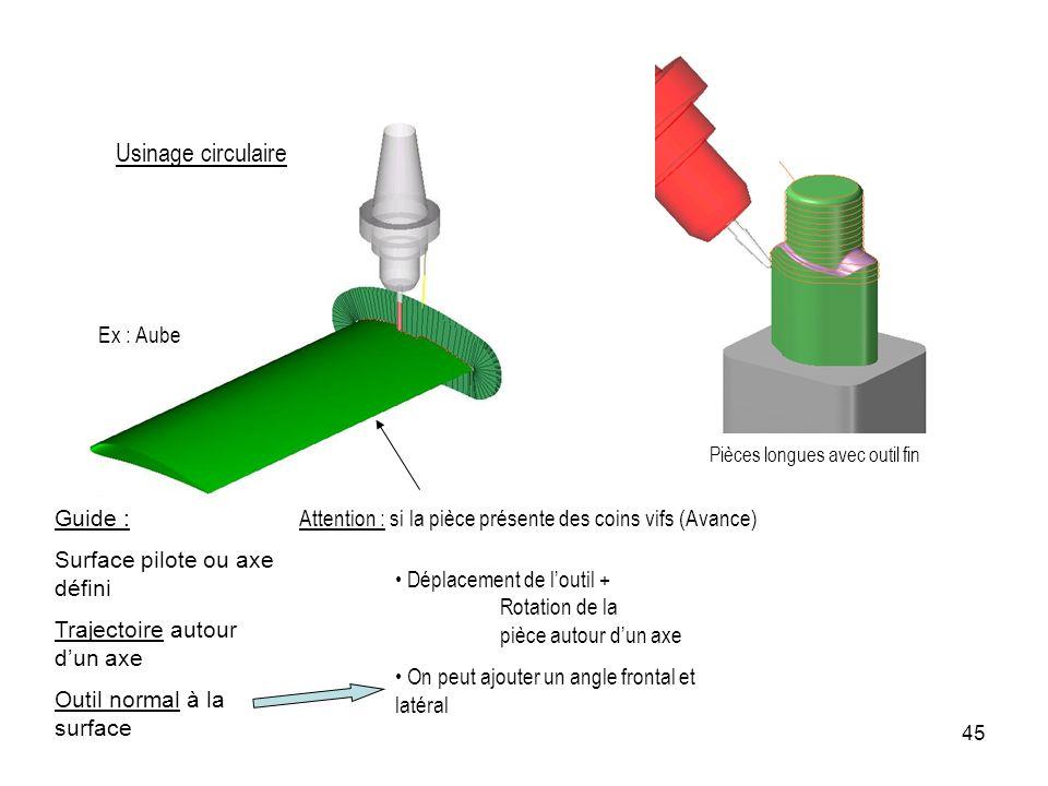 45 Usinage circulaire Déplacement de loutil + Rotation de la pièce autour dun axe On peut ajouter un angle frontal et latéral Ex : Aube Guide : Surfac