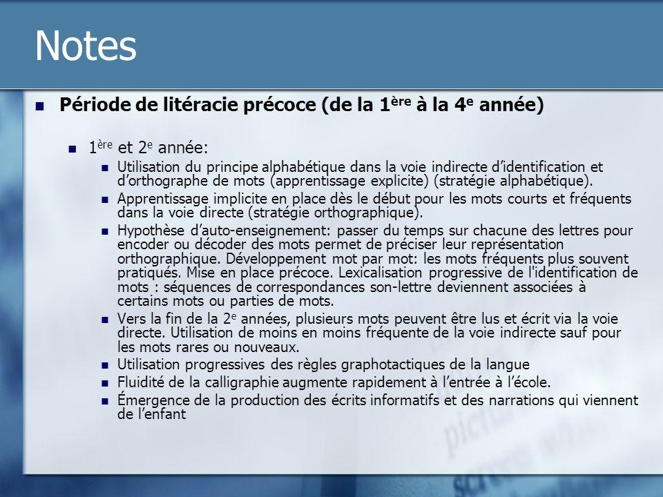 Notes Période de litéracie précoce (de la 1 ère à la 4 e année) 1 ère et 2 e année: Utilisation du principe alphabétique dans la voie indirecte didentification et dorthographe de mots (apprentissage explicite) (stratégie alphabétique).