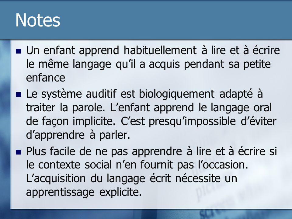 Notes Lors de la réception: Les input sensoriels activent les différentes représentations des mots dans le lexique mental Les représentations abstraites sont en quelque sorte des étiquettes phonologiques, orthographiques et sémantiques associées à un mot Linformation auditive (p.ex.