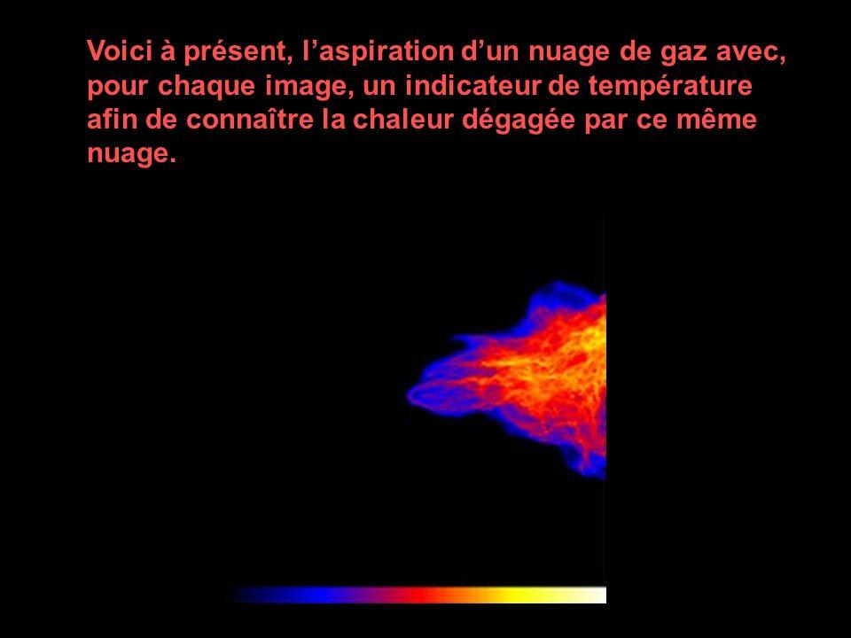 Voici à présent, laspiration dun nuage de gaz avec, pour chaque image, un indicateur de température afin de connaître la chaleur dégagée par ce même n