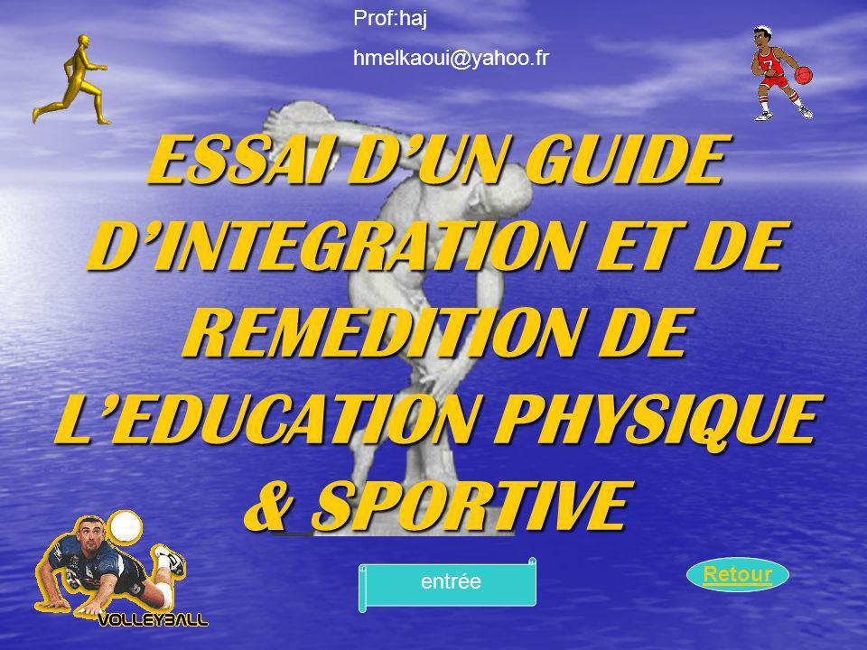 Retour ESSAI DUN GUIDE DINTEGRATION ET DE REMEDITION DE LEDUCATION PHYSIQUE & SPORTIVE entrée Prof:haj hmelkaoui@yahoo.fr