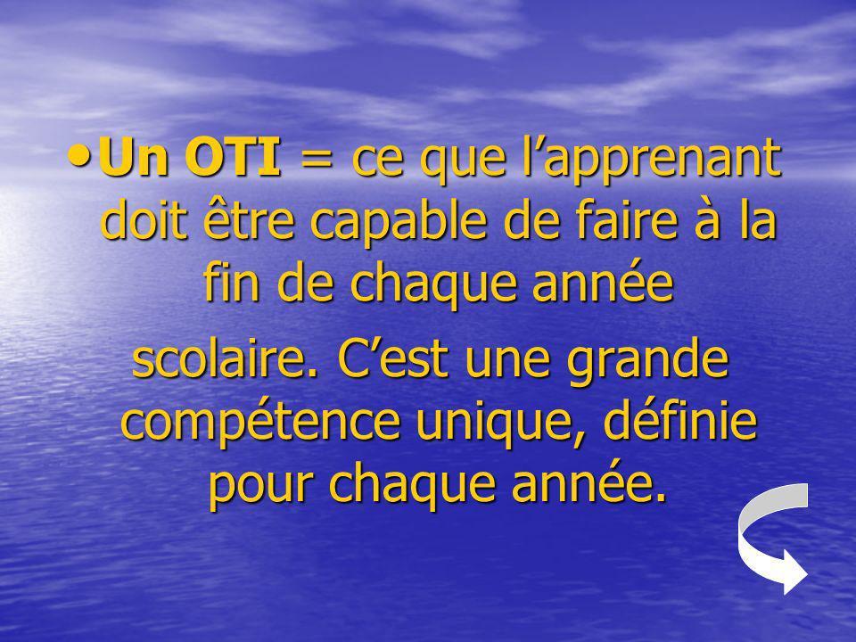 Un OTI = ce que lapprenant doit être capable de faire à la fin de chaque année Un OTI = ce que lapprenant doit être capable de faire à la fin de chaqu