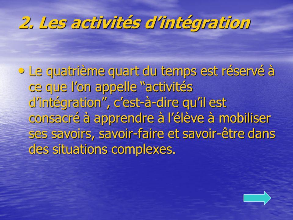 2. Les activités dintégration Le quatrième quart du temps est réservé à ce que lon appelle activités dintégration, cest-à-dire quil est consacré à app