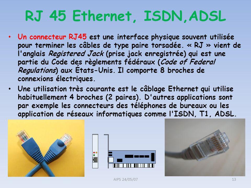 RJ 45 Ethernet, ISDN,ADSL Un connecteur RJ45 est une interface physique souvent utilisée pour terminer les câbles de type paire torsadée. « RJ » vient