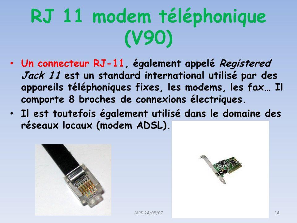 RJ 11 modem téléphonique (V90) Un connecteur RJ-11, également appelé Registered Jack 11 est un standard international utilisé par des appareils téléph