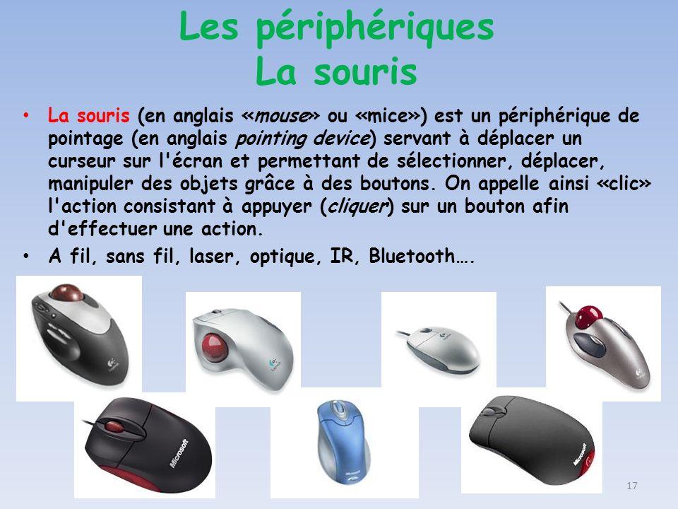 La souris (en anglais «mouse» ou «mice») est un périphérique de pointage (en anglais pointing device) servant à déplacer un curseur sur l'écran et per