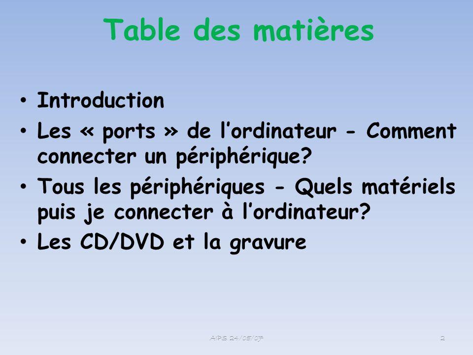 Table des matières Introduction Les « ports » de lordinateur - Comment connecter un périphérique? Tous les périphériques - Quels matériels puis je con