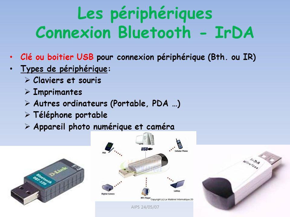 Les périphériques Connexion Bluetooth - IrDA Clé ou boitier USB pour connexion périphérique (Bth. ou IR) Types de périphérique: Claviers et souris Imp