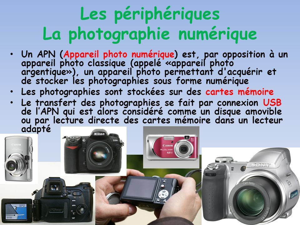 Un APN (Appareil photo numérique) est, par opposition à un appareil photo classique (appelé «appareil photo argentique»), un appareil photo permettant