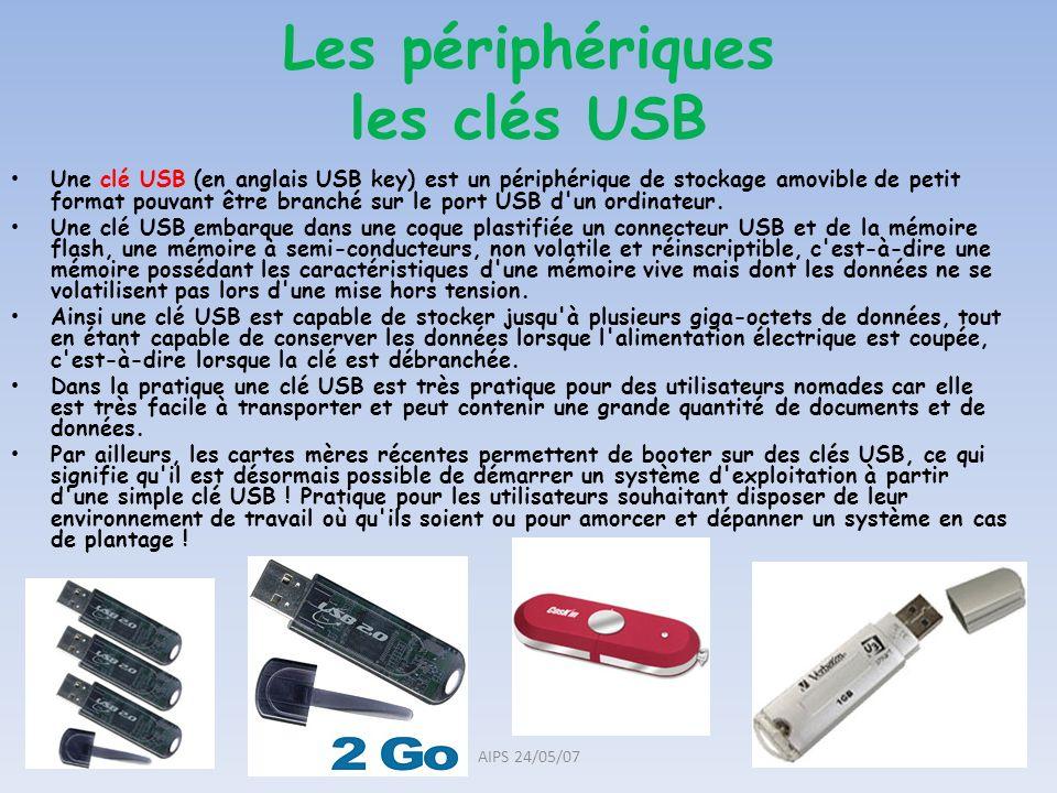 Une clé USB (en anglais USB key) est un périphérique de stockage amovible de petit format pouvant être branché sur le port USB d'un ordinateur. Une cl