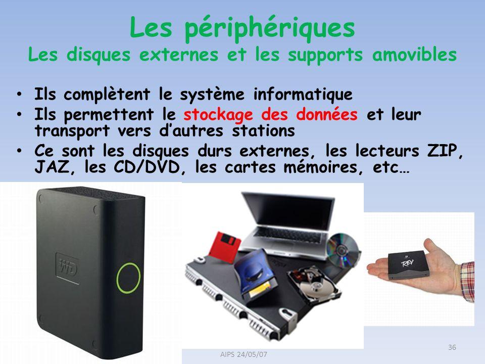 Ils complètent le système informatique Ils permettent le stockage des données et leur transport vers dautres stations Ce sont les disques durs externe