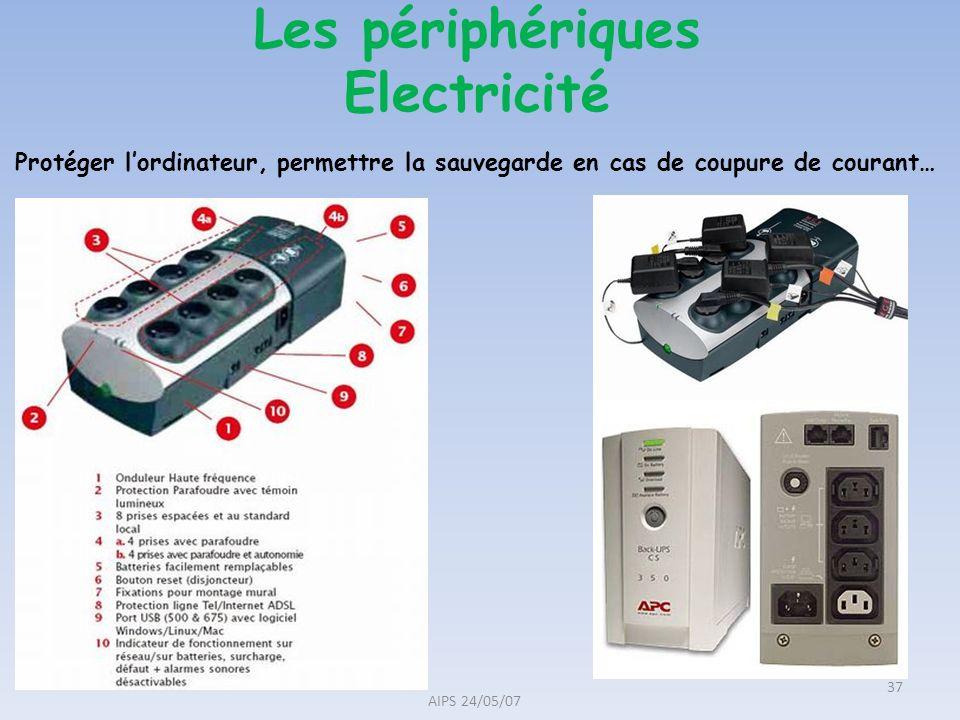 Les périphériques Electricité AIPS 24/05/07 37 Protéger lordinateur, permettre la sauvegarde en cas de coupure de courant…