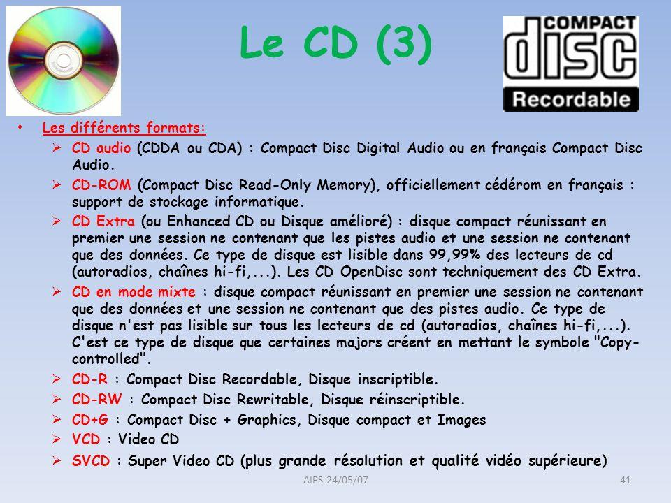 Les différents formats: CD audio (CDDA ou CDA) : Compact Disc Digital Audio ou en français Compact Disc Audio. CD-ROM (Compact Disc Read-Only Memory),