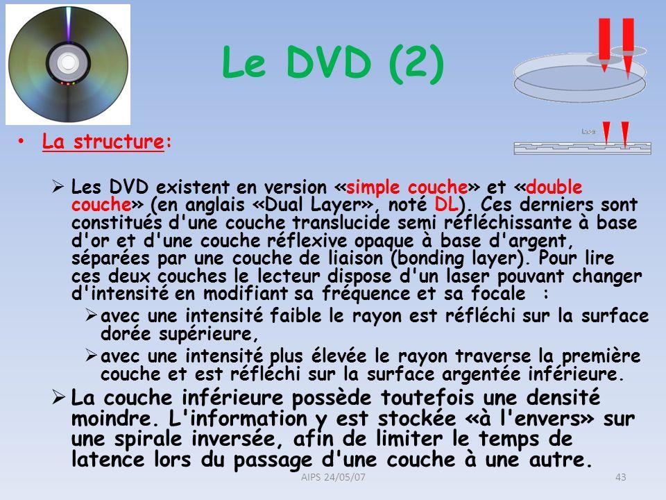 La structure: Les DVD existent en version «simple couche» et «double couche» (en anglais «Dual Layer», noté DL). Ces derniers sont constitués d'une co