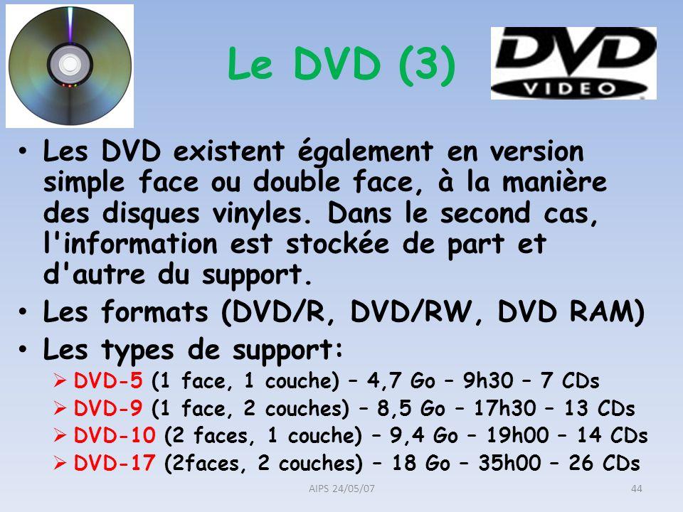 Les DVD existent également en version simple face ou double face, à la manière des disques vinyles. Dans le second cas, l'information est stockée de p