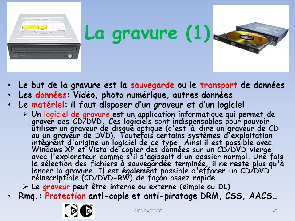 La gravure (1) Le but de la gravure est la sauvegarde ou le transport de données Les données: Vidéo, photo numérique, autres données Le matériel: il f