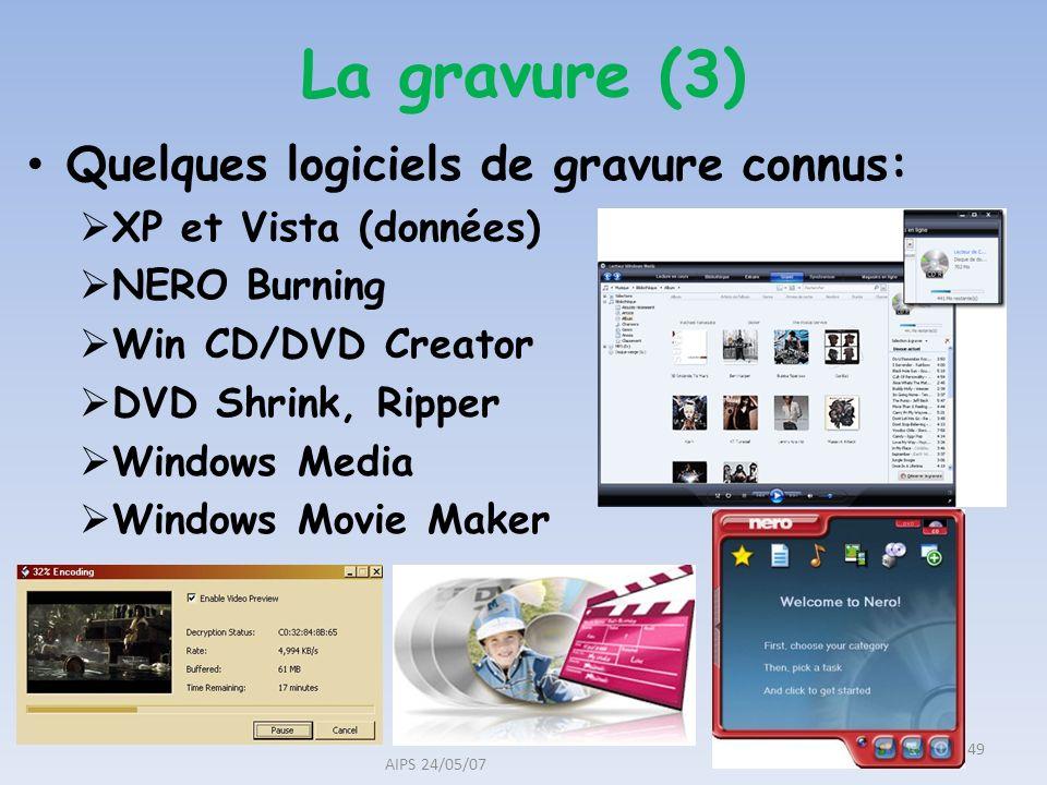 Quelques logiciels de gravure connus: XP et Vista (données) NERO Burning Win CD/DVD Creator DVD Shrink, Ripper Windows Media Windows Movie Maker AIPS