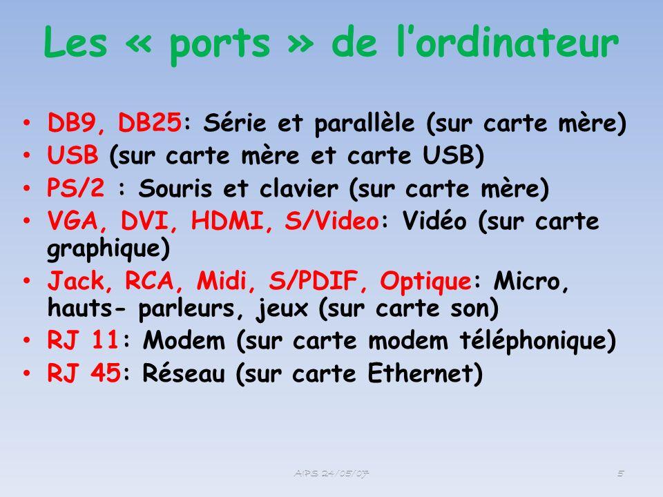 Les « ports » de lordinateur DB9, DB25: Série et parallèle (sur carte mère) USB (sur carte mère et carte USB) PS/2 : Souris et clavier (sur carte mère